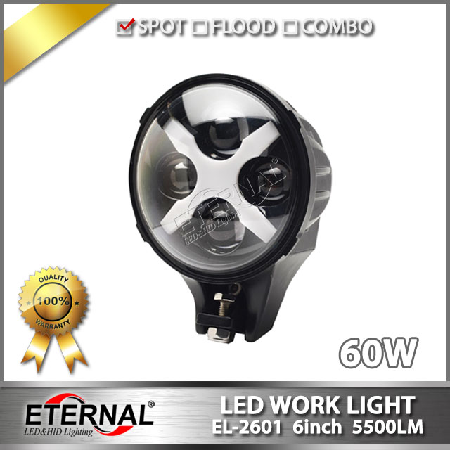 6pcs lot 7inch round Speakers 60W LED driving headlight with X halo lamp for 4x4 powersports offroad Wrangler Rubicon motorcycle<br>