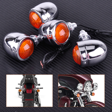 Motorcycle 4pcs Silver Chrome Plate Bullet Turn Signal Lights Indicator Lamp Fit for Harley Dirt Bike Honda Guzzi Yamaha Suzuki