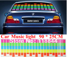 90cm x 25cm Sound Music Activated EL Sheet Car Stickers Equalizer Glow Flash Panel led Multi Color Decorative Light Accessories