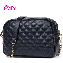HMILY New Genuine Leather Women Messenger Bag Plaid ladies Crossbody Bag Chain Trendy Transverse Shopping Daily Shoulder Bag