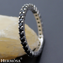 Big Promotion Wedding Round BLACK ONYX Hermosa New Jewelry 925 Sterling Silver Party Rings For Women Size 8#
