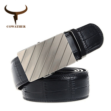 COWATHER 2017 cow genuine leather belt for men Brand men belts Automatic buckle Bamboo pattern strap black brown  original brand