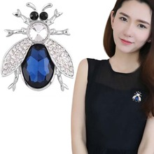 Vintage big blue crystal Jewelry Beetle Brooches For Women Animal Elegant silver color rhinestone Insects Brooch fine Jewelry(China)