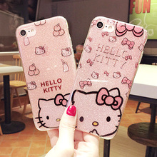 Luxury  fashion Kitty Flash Powder TPU Soft For apple  iphone 6 6s accessories cover case 4.7 inch 81710