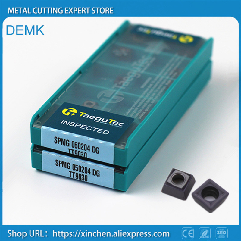 Knife SPMG 060204 DG TT9030 10pcs for Taegutec CNC U-type fast drill bit Carbide blade processing Stainless steel and steel<br>