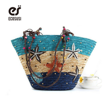 ECOSUSI New Straw Bag Fashion Women Shoulder Large Capacity Beach Bag Women Grass Handbag Durable Ladies Tote Ocean Women Bags