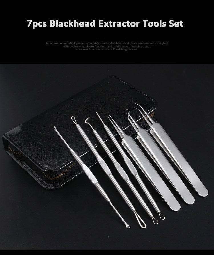 Newest 7pcs Acne Needle Tweezers Blackhead Remover Acne Blemish Pimples Comedone Removal Extractor Set Face Skin Care Tools 11