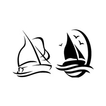 25.4*15CM Sailboat Sailing In Two Car Stickers Fashion Styling Vinyl Car Decals Black/Silver C7-1269(China)