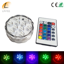 100pcs By DHL RGB LED Underwater Light Battery Operated Waterproof Swimming Pool Light LED Submersible for Party Piscina Pond(China)