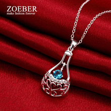 Zoeber Elegant Perfume Bottle Necklace Women Purple Zircon Glass Bottle Pendant Silver Plated Long Necklace Fashion Jewelry