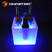 051811  PP double wall battery operated plastic wine led ice bucket LED ice bucket bar multicolor luminous colors  square bucket
