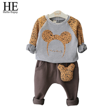 HE Hello Enjoy kids clothing set autumn 2017 Fashion girls clothing sets Cartoon leopard sweater + Casual trousers boys clothes
