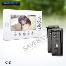 "HOMSECUR 7"" Hands-free Video Door Intercom System with 2 IR Night Vision Cameras(China)"