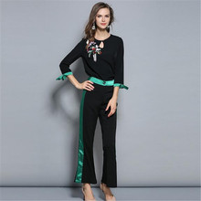 Women O-Neck Print Top And Pants Two Pieces Of New Autumn Suits Female Straight Suit Trousers Ol Korean Fashion Slim Sets A5214(China)