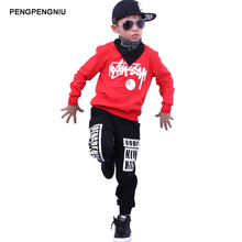 PENGPENGNIU Boys Hoodie and Pant Sets Girls Street Dance Clothes Kids Hip Hop Costumes Dance Wear Children Sport Suits(China)