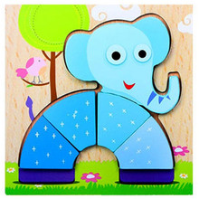 Baby Kids Cartoon Animals Dimensional Puzzle Baby Educational Kids Children Intellectual Developmental Wooden Toy Puzzle Gift(China)