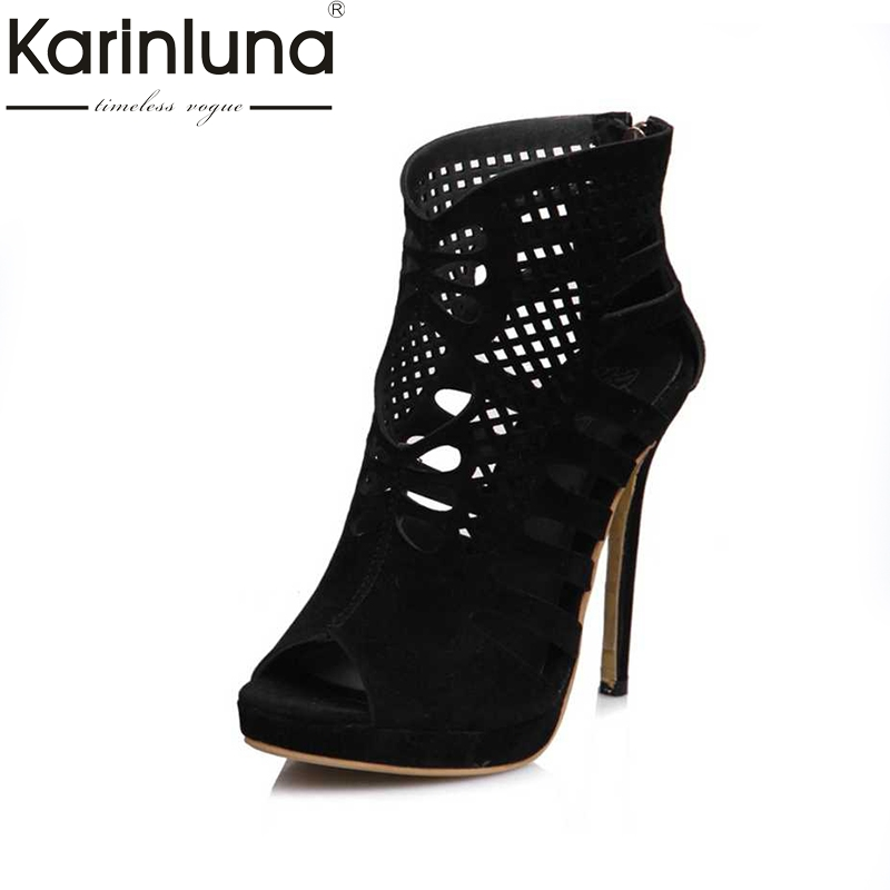 KARINLUNA Big Size 28-52 Fashion Women Fretwork High Heel Sandals Peep Toe Platform Woman Summer Shoes Party Wedding Mujur<br>