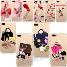 Charming Sexy Woman Makeup Lipsticks Nail Polish  Phone Cases For iphone 5 5s SE 6 6s 7 Plus Soft TPU Silicon Cover Capa