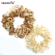 SHANGKE Short Curly Hair Tails Women Hairstyles Heat Resistant Synthetic Hair Pieces Natural Fake Hairpieces Women Hair(China)