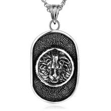 Dog' Tag Pendant Stainless Steel Necklace Lion Pattern Vintage Punk Jewelry Fashion Men Jewelry(China)