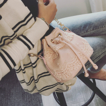 Tassel Pu Leather Chains Bucket Bag Women Lace Shoulder Bag Women's Messenger Bags Emboridery Small Crossbody Bags Handbags Pink