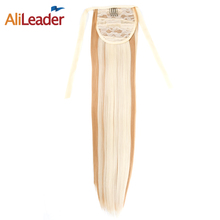 "Alileader False Hair Tress Clip In Ponytail Blonde Brown White Black Ponytail Hair Extension Fake Pony Tail 18"" Synthetic Hair"