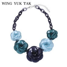 2017 Unique Design Fashion Bohemia Style Blue Red 3D Acrylic Big Flower Elegant Women Trendy Statement Pendant Necklace