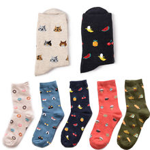 1 Pair Winter new fashion male and female short tube cotton socks Korea creative cartoon life food sushi watermelon
