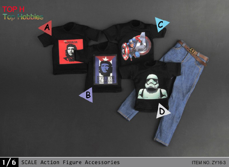 1/6 ZY Toys Male Black ZY16-3 T-Shirt &amp; Jeans w/Belt A/B/C/D 4 Styles For 12 Action Figure<br>