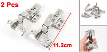 112mm x 27mm Hardware Tool Stainless Steel Concealed Cabinet Hinge Silver Tone 2 Pcs
