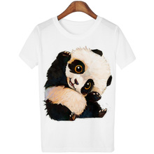 Harajuku Panda Print T Shirt Women Tshirt 2016 Summer Style Short Sleeve Ladies Tops T-shirt Femme Casual White Tees Cartoon(China)