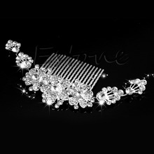 Luxury Bridal Wedding Crystal Flower Rhinestone Hair Clip Comb Pin Headband