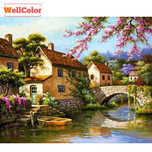 Needlework DIY Landscape Diamond Embroidery Hand Made Patterns Rhinestones Bridge and River 5d Diamond Painting Mosaic Kits Sale