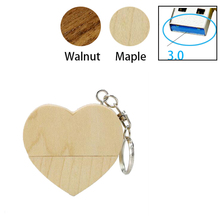 3.0! Wooden Heart Usb flash drive Memory Stick 3.0 Pen Drive 8gb 16gb 32gb Company Logo customized Wedding Gift photography gift(China)