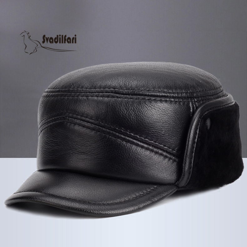 Mens Leather Hat autumn winter fur wool flatcap elderly thickened ear sheepskin cap<br>