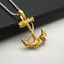 Stainless Vintage Anchor Pendant Mens Womens Surfer Necklace Chain Gold(China)