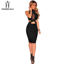 Buy HAMBELELA Black Sexy Club Women Dress 2017 Fashion Halter High Neck Mesh Splice Hollow Party Dress Female Knee Length Dress