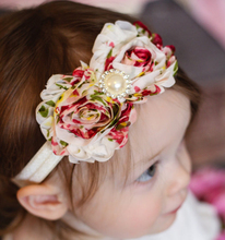 EASOV Baby Girls Satin Ribbon Flower Headbands  Kids Headwear Elastic Hair Accessories  Photography Props W106