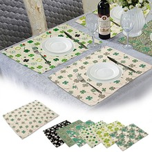 Kitchen Tree Of Life Linen Placemats Printing Cotton Linen Napkin Fresh Green Leaves Linen Placemat Table Cloth Napkins 42*32cm