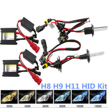 H8 H9 H11 35w 12v Xenon HID Replacement Kit HID Xenon Bulb 4300K 6000K 10000K Low Hi Beam Parking Light FogLight Headlight 1Pair(China)