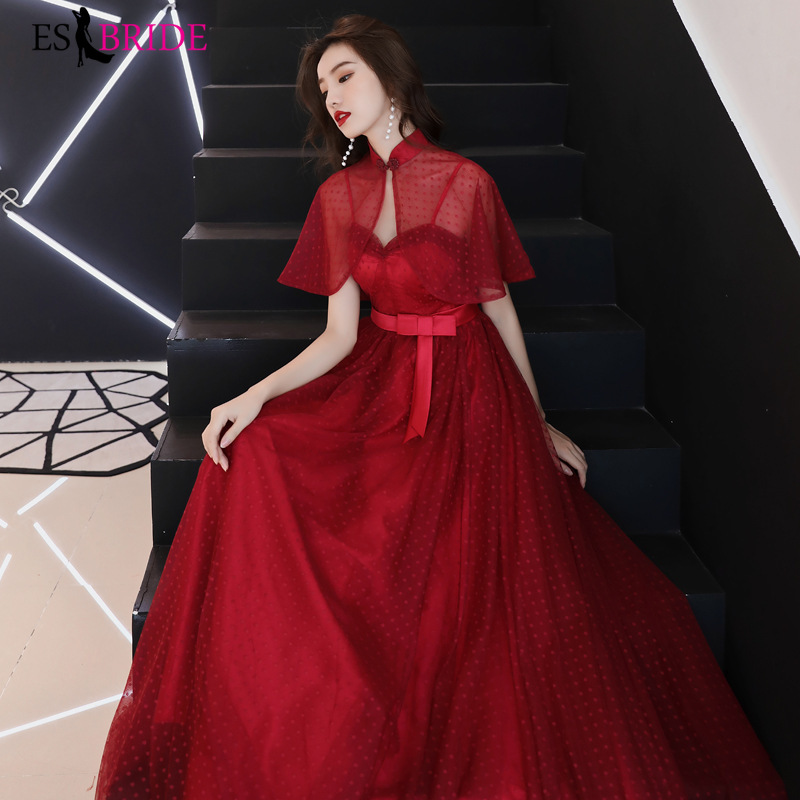 Red Evening Gowns for Women Short Sleeve Elegant Evening Dresses Long 2019 Special Occasion Dresses A-line Evening Dress ES2444