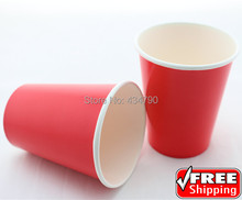 60pcs 9OZ Plain Red Paper Cups Drinking Milk Tea,Biodegradable New Year Decorative Party Christmas Tableware-Choose Your Colors(China)
