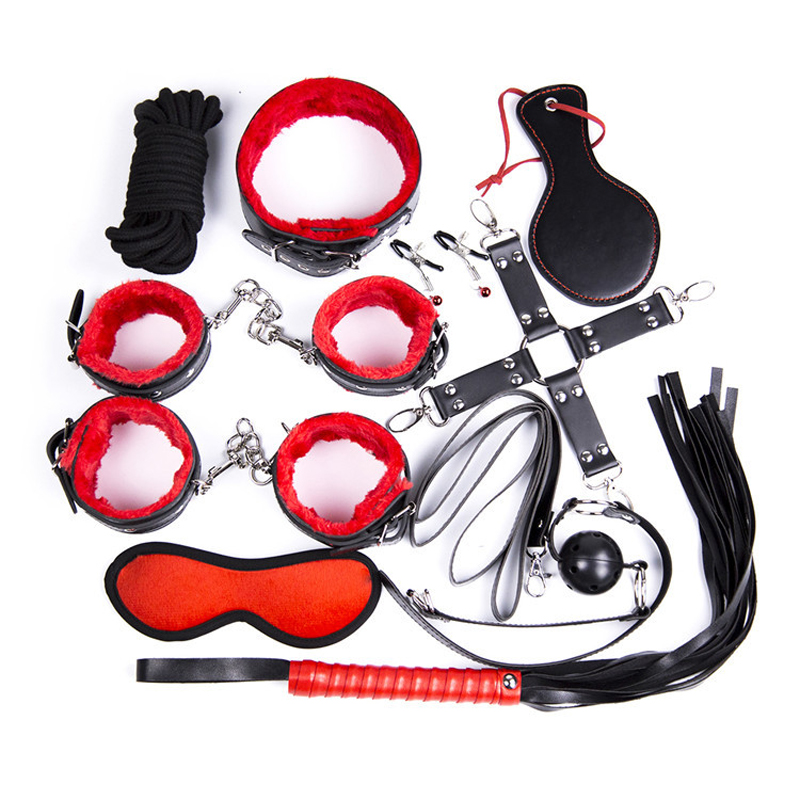 10 Pcs/set PU Leather Handcuffs Sex Bondage Restraints Mouth Gag Nipple Clamps Whip Mask Slave Fetish Sex Toys For Couples<br>