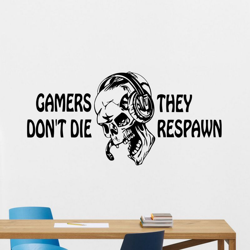 DCTAL Game Handle Sticker Skull Gamer Decal Gaming Posters Gamer Vinyl Wall Decals Parede Decor Mural Video Game Sticker