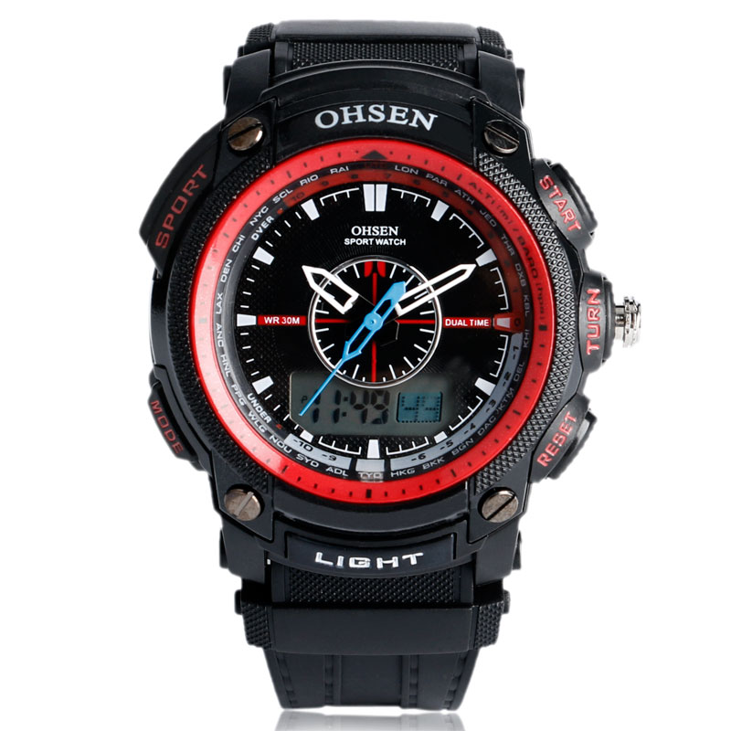 OHSEN Digital 3ATM Water Resistant Day-Date Quartz Rubber Band Stop Strap Wrist Watch Digital Multifunction Trendy Fashion Gift<br><br>Aliexpress