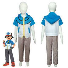 Pokemon BW Ash Ketchum Satoshi Season 4 Best Wishes Kid Cosplay Costume Outfit For Halloween Carnival