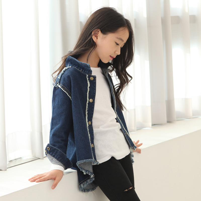 New Girls Jeans Jacket Blue/Black Color Girl Jacket Denim Full Sleeve Girls Coats And Jackets Solid Color Girls Jacket<br><br>Aliexpress