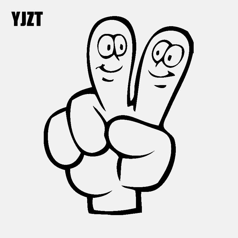 CARTOON HAND PEACE SIGN VINYL DECAL BUMPER STICKER 5 INCHES HIGH VICTORY