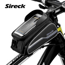 "Sireck Bike Bag Bicycle Accessories Bike Saddle Front Frame Bag Double Pouches Cycling Top Tube Bag 6.0"" Phone Case Touch Screen"