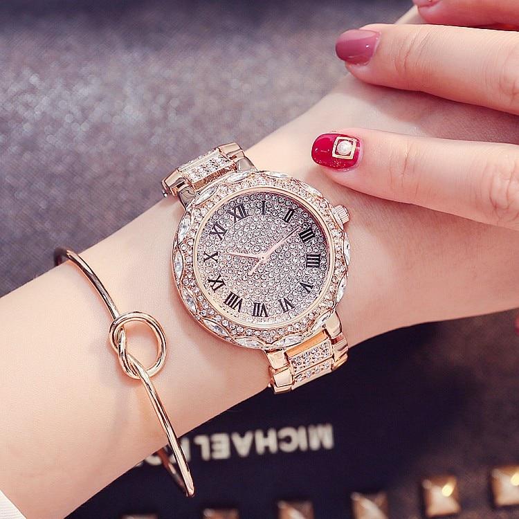 New Fashion Geneva Watch Women Dress Watches Rose Gold Stainless Steel Analog Quartz Womans Ladies Rhinestone Wrist watches<br>